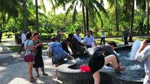 Chinese Tourists Washes Feet in Popular Water Fountain