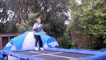 kid lands double front flip on trampoline