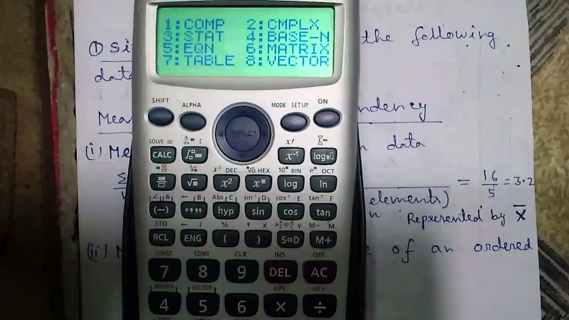 Casio fx-991ES Calculator Tutorial #3_ Statistics Part 1_Basics