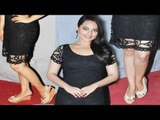 Cute & Sexy Sonakshi Sinha In Sexy Black Net Dress