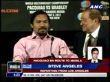 Pacquiao en route to PH to visit flood victims
