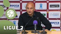 Conférence de presse AC Ajaccio - Stade Brestois 29 (2-1) : Olivier PANTALONI (ACAJ) - Alex  DUPONT (SB29) - 2014/2015