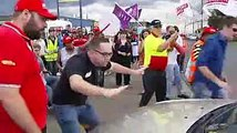 Striking Workers Attack Scab security Guard on Baiada picket line