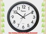IMPECCA Non Ticking Wall 12 Clock (Metallic Grey)