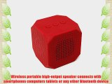 MQbix MQBK3010RED MUSICUBE Wireless Portable Bluetooth Speaker with Built-In Mic for Bluetooth