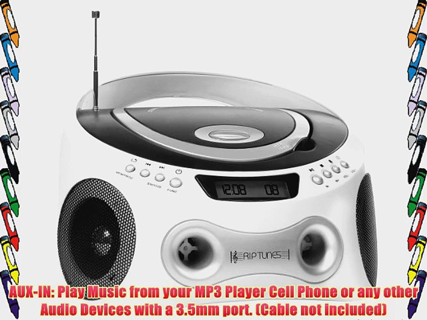 Riptunes CD MP3 Radio Stereo Boombox with Display and Aux-In Port for All MP3 Players (Black/White)