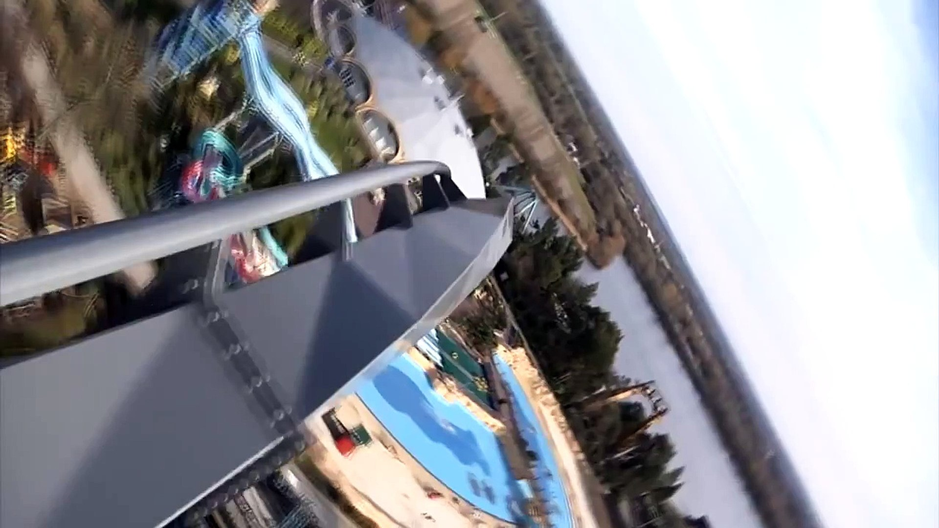 The Swarm POV of Thorpe Park Roller Coaster Front Seat View B&M Wing Rider London UK