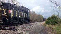 National Railroad Equipment SW9 and Norfolk Southern EMD at Mt Zion, coupling