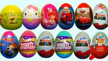 12 Kinder Surprise  and Surprise Eggs SpongeBob HELLO KITTY Cars Disney Princess SPIDER MAN!