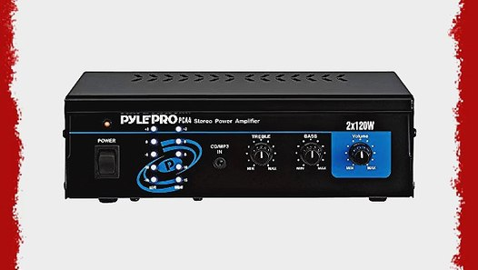 Pyle PCA4 Mini 2 x 120 Watt Stereo Power Amplifier W// Bass /& Treble controls