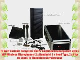 75 Watt Portable PA System HS322 Amplified Rechargeable with 6 VHF Wireless Microphones (2