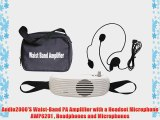 Audio2000'S Waist-Band PA Amplifier with a Headset Microphone AWP6201  Headphones and Microphones