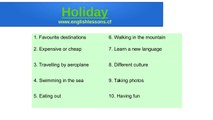 English lesson about Holiday. Spoken English. Learn to speak English better.