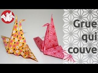 Origami - La grue qui couve - Hatching crane [Senbazuru]