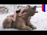 Sexy Russian models snuggle, spoon and pose with 1,400-lb bear in anti-hunting photoshoot