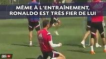 Même à l'entraînement, Cristiano Ronaldo est très fier de lui quand il marque un but