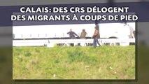 Calais: Des CRS délogent des migrants à coups de pied