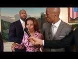 VIDEO: Michelle Obama at LeBron James, nag-dunk sa likod ni Dwayne Wade!