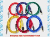 GLS Audio 6ft Patch Cable Cords - RCA To 1/4 TS Color Cables - 6' Pro Series Cord - 6 PACK