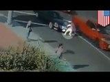Caught on camera: California teen hit TWICE while running across street