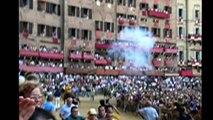 Epic Palio Medieval Horse Race Fall in Piazza del Campo Siena Italy Italia
