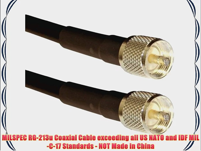 for Ham and CB JEFA Tech RG-213//U MILSPEC UHF Male PL-259 2 Foot Jumper