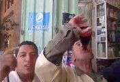 Uncle Drinking Cola In One Sip