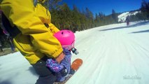Tandem Snowboarding session : dad and his 3YO daughter! Best birthday gift ever!