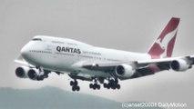 Boeing 747-400 Quantas, UPS, Korean Air, 747-8 Cathay Pacific. Hong Kong International Airport