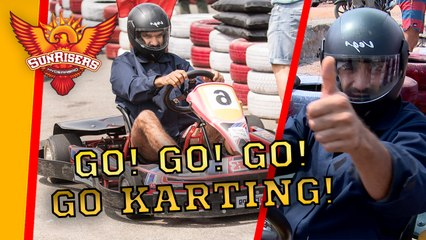 Racing to victory: The Sunrisers hit the tarmac for some Go Karting!