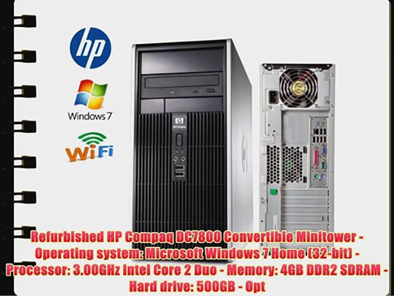 HP DC7800 MiniTower - Core 2 Duo 3 0GHz - 500GB 7200RPM HDD - 4GB RAM -  WIFI - Featuring Dual