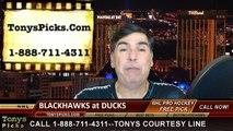 Anaheim Ducks vs. Chicago Blackhawks Free Pick Prediction NHL Pro Hockey Playoff Game 1 Odds Preview 5-17-2015