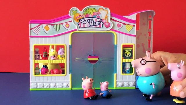 Shopkins Peppa Pig, George, Mummy and Daddy Pig go Shopping! Peppa Pig Toys Shopping Day!