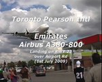 Emirates Airbus A380 landing in Toronto Pearson Airport - low approach over Airport Rd!
