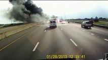 Accident de voiture suite à l'explosion d'un camion