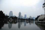 Lumpini Park Lake - Silom Skyline Time Lapse Photography - Bangkok Thailand