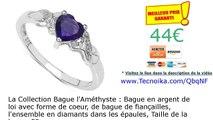 La Collection Bague l'Améthyste : Bague en argent de loi avec forme de coeur, de bague de...