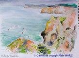 Aquarelles et croquis de voyage à la Punta da Piedade sur la route du bleu.