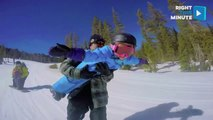 Adorable Daddy-Daughter Extreme Snowboarding