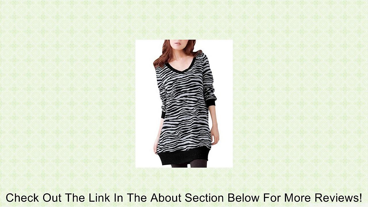 Allegra K Ladies Zebra PrintV Neck Long Sleeve T Shirts Casual Tunic Tops Review