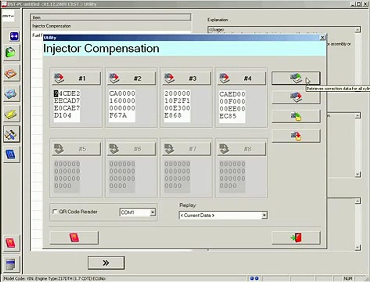 DENSO DST-PC / DENSO-C Injector Compensation Meriva Z17DTH 2007 DENSO