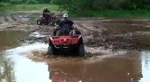 ATV Mudding STUCK - Can Am Outlander 400 Stuck - Honda 450R - Yamaha Warrior 350 - ATV 4 wheeler