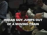 Indian guy jumps out of a moving train