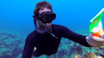 Raw Elements sunscreen underwater application while spearfishing