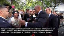 'The Rock' attempts a selfie record - Guinness World Records