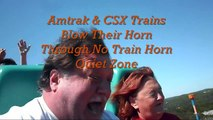 Amtrak & CSX Trains Blow Their Horn Through No Train Horn Quiet Zone