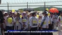 Des pacifistes traversent la frontière entre les deux Corées