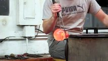 Making a solid glass sphere out of hot glass