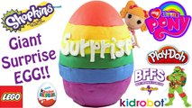 Giant Rainbow Play Doh Surprise Egg | Shopkins BFFs My Little Pony Kinder Eggs LEGO Awesome Toys TV