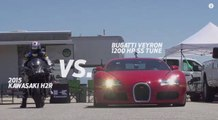 Kawasaki Ninja H2R Bike Faces Off With McLaren MP4-12C, Tuned Bugatti Veyron & Nissan GT-R Super Cars